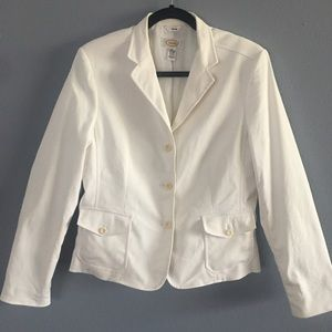 Talbots White Blazer with Pockets